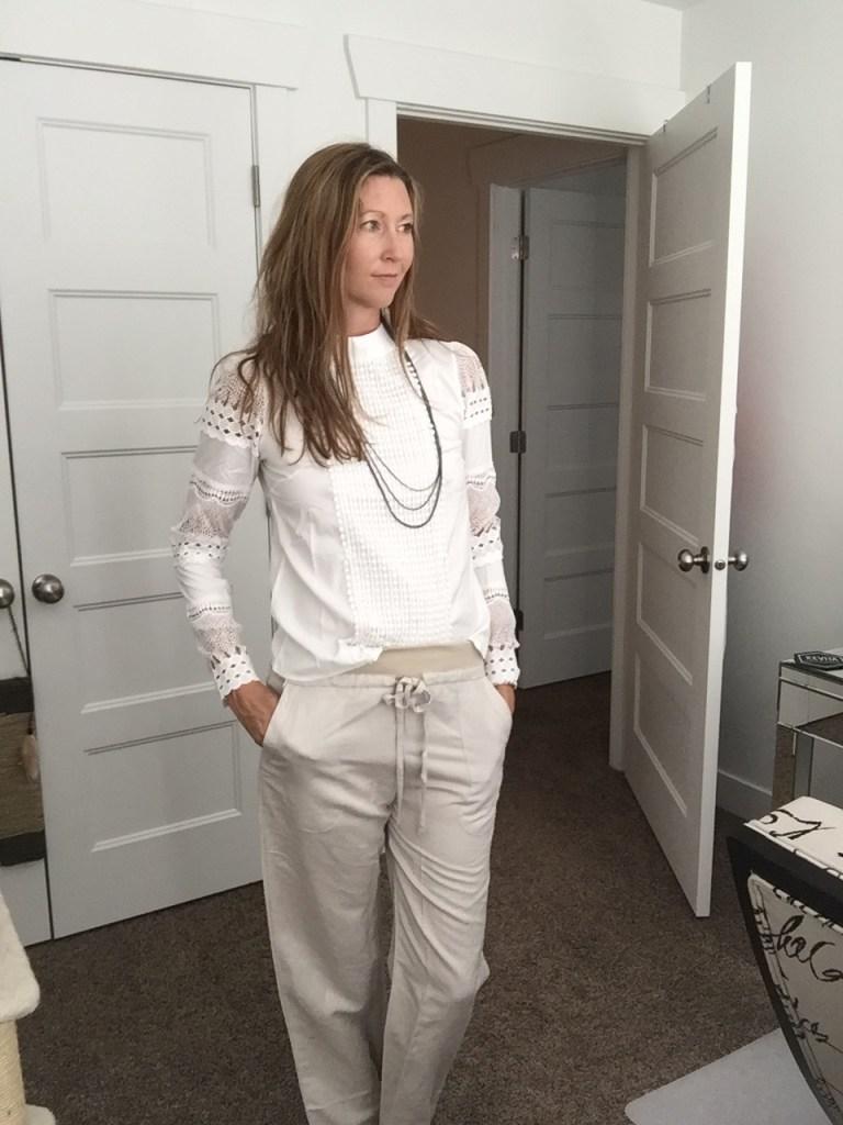 White Lace Top and Khaki Drawstring Pant