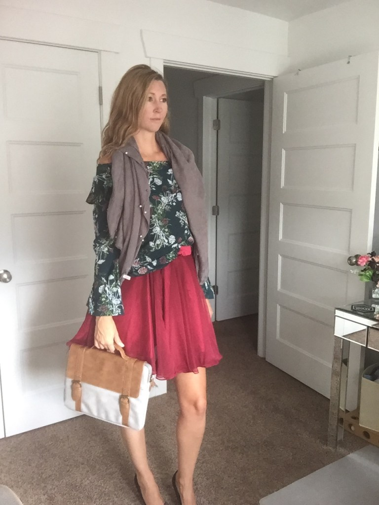 Green Floral Top, Red Circle Skirt, Scarf, and Laptop Case
