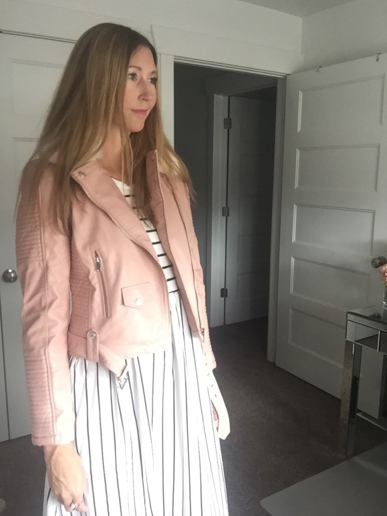 Pink Faux Leather Jacket and Black & White Striped Maxi Dress
