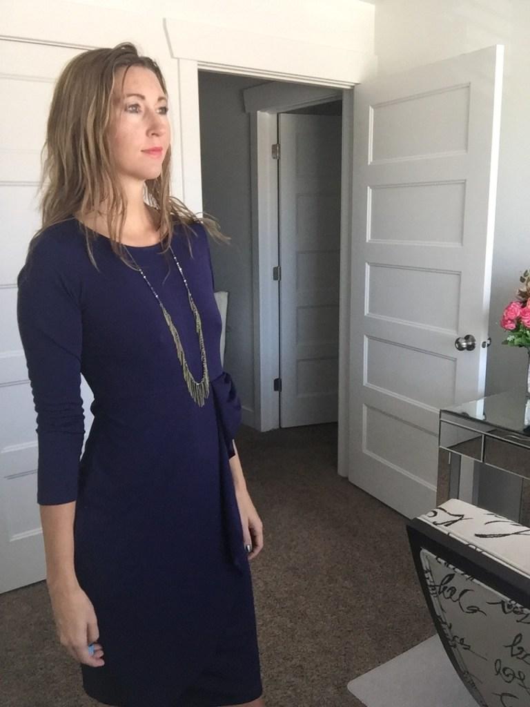 Chic 3/4 Sleeve Navy Sheath Dress