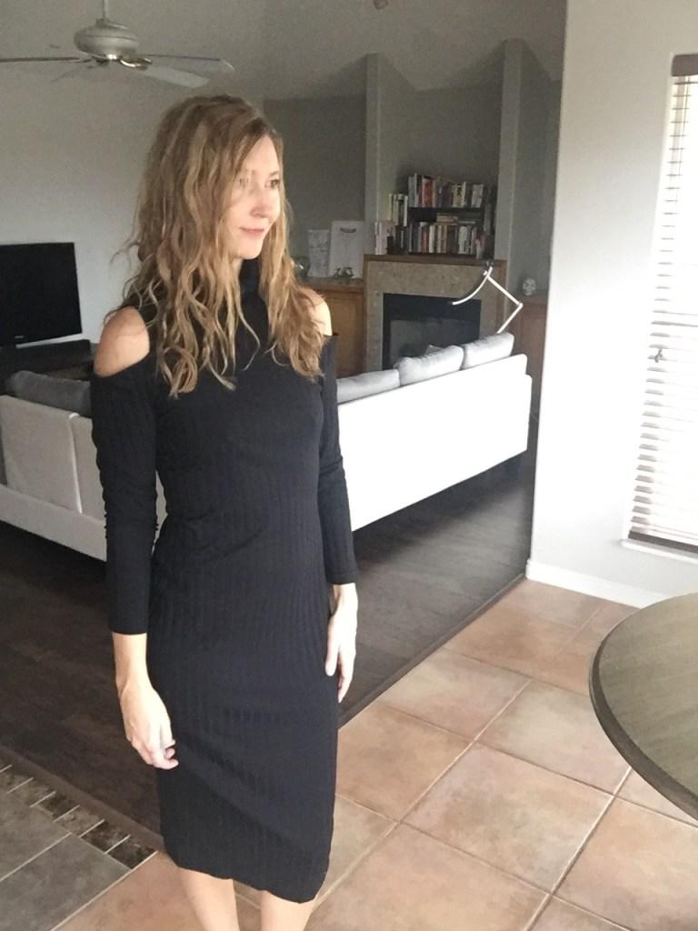 Black Open Shoulder Sweater Dress