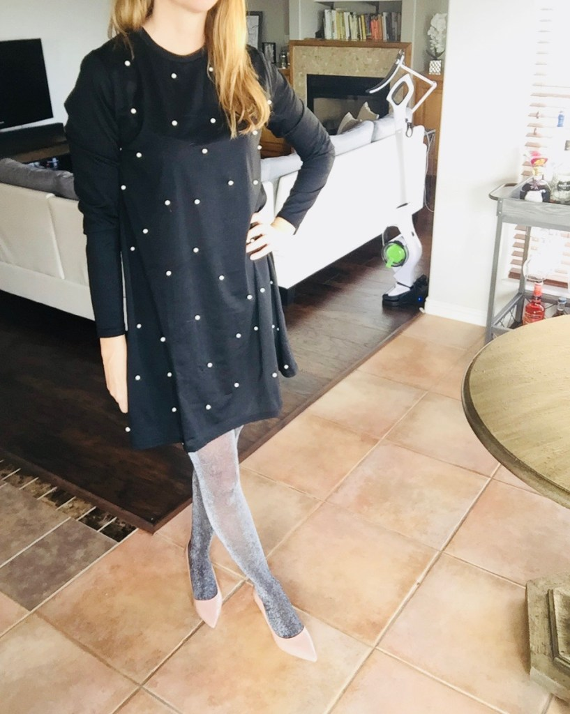 Chic Pearl Detailed Dress, Silver Sparkle Tights & Nude Kitten Heels