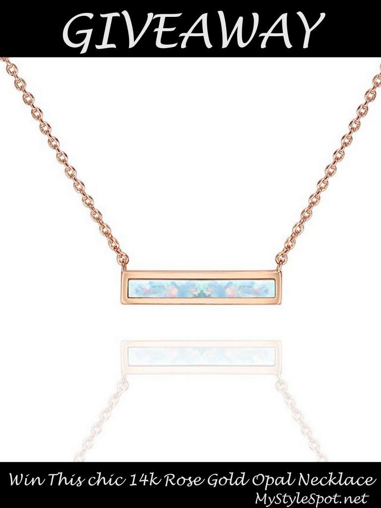 14k rose gold opal necklace giveaway