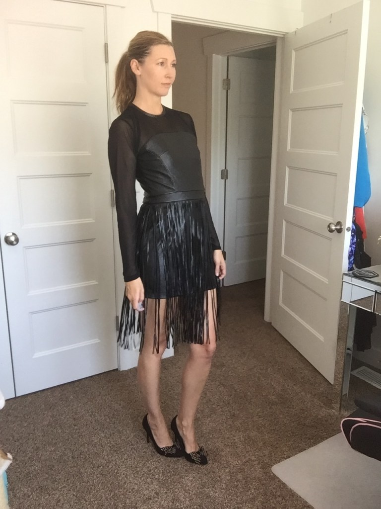 Black Faux Leather Long Sleeved Fringe Mini Dress