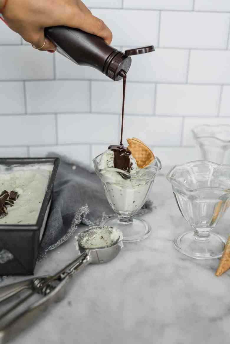 homemade mint chip ice cream recipe is delicious with this chocolate syrup
