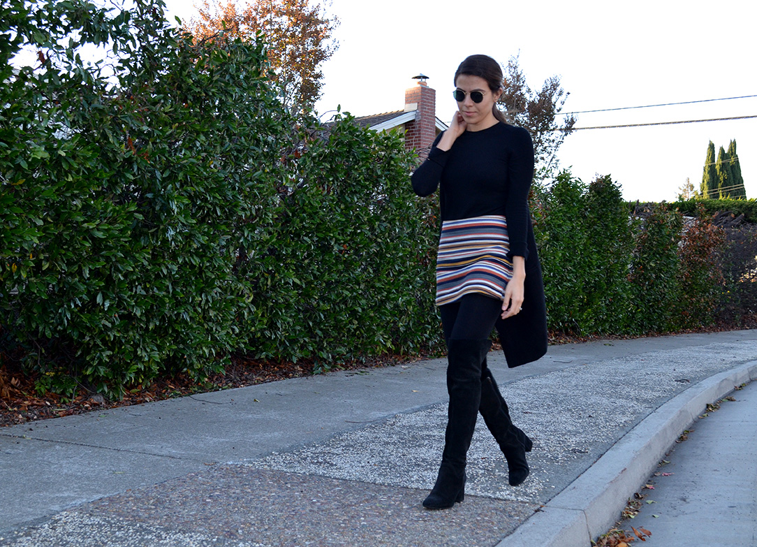 How to wear over the knee boots, black boots, shorts for fall, black cont, fall style, fall look, silicon valley style, silicon valley personal stylist, shopper, personal shopper, all black look, zara boots, coat