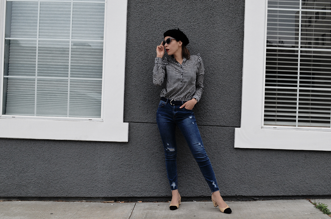 KarlaVargas-MyStylosophy-Gingham-BlackBeret-SanDiegoStyleBlogger-MyStyle-Howto-FrenchStyle-HowTo-Jeans-SanDiegoStreets
