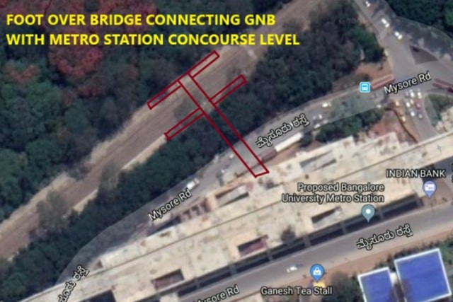 Foot Over Bridge connecting GNB & Namma Metro