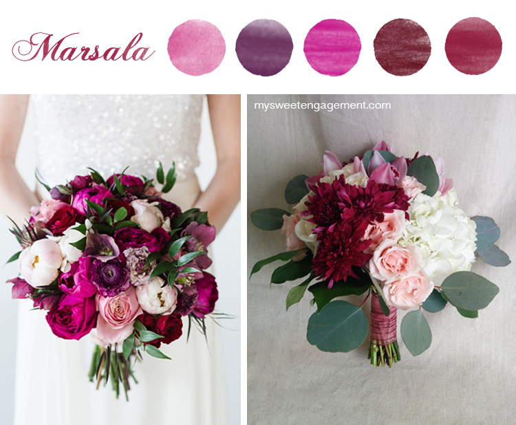 8 Wedding Bouquet Color Inspirations - Marsala flowers | More on: http://mysweetengagement.com/50-shades-of-flowers-wedding-bouquet-color-inspiration