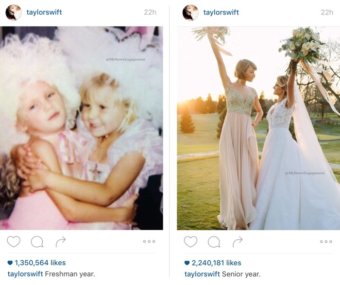 Taylor Swift now and then as maid of honor at her best friend wedding. Bridesmaid dress and bride gown with the bouquets up