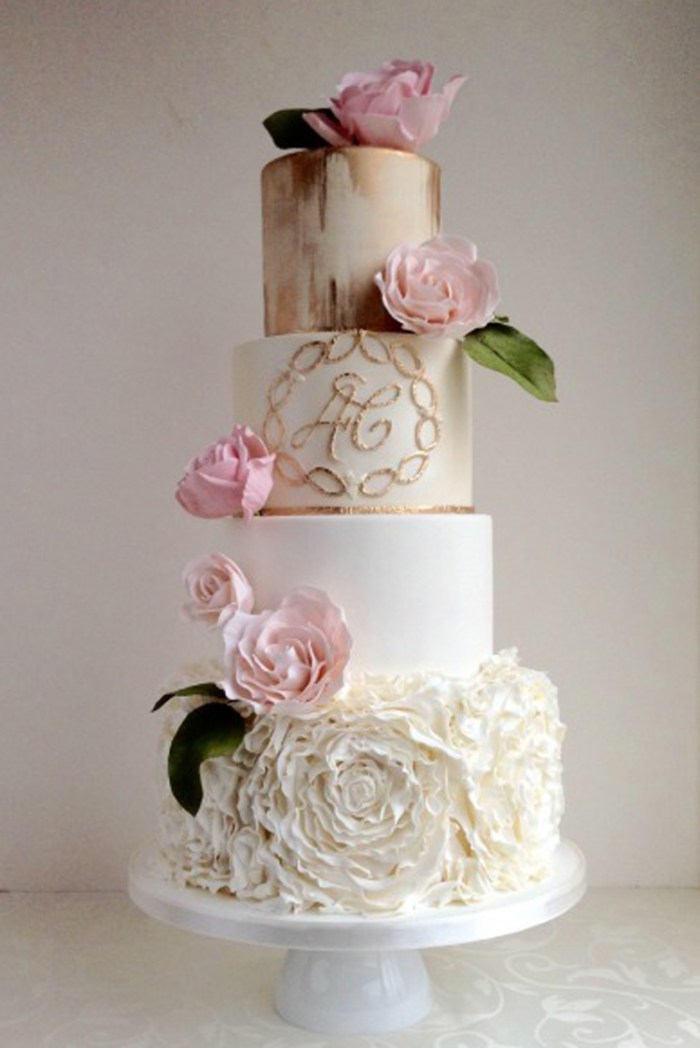 Copper and ruffled wedding cake with pink peonies | See more: http://mysweetengagement.com/15-extraordinary-wedding-cakes-for-all-wedding-styles