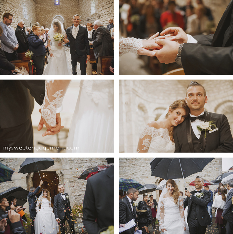 wedding church ceremony - walking down the aisle - bride and groom - rainy wedding day - umbrella - autumn - ceremony exity bubbles - wedding bouquet lace dress - engagement ring - wedding blog - my sweet engagement