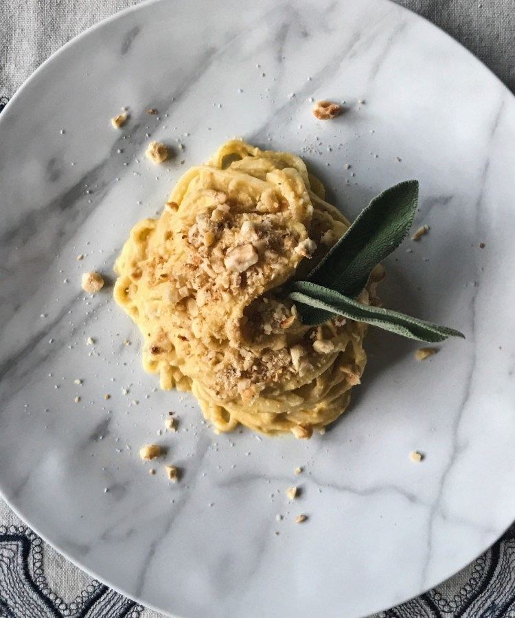 thermomix linguini with butternut squash and hazelnut