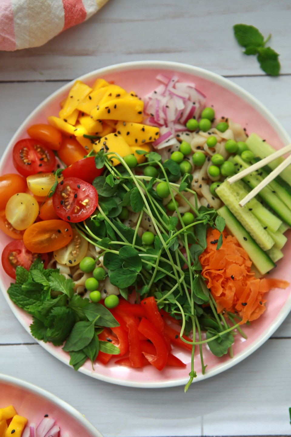 Tofu veggie bowl with fresh herbs and veggies