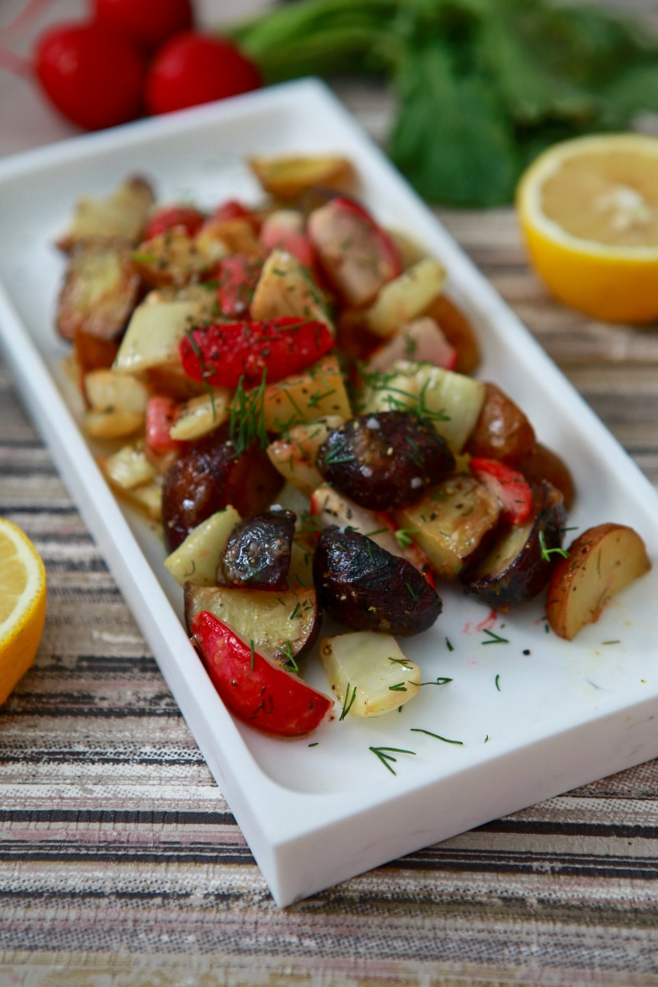 Roasted veggies with fresh dill
