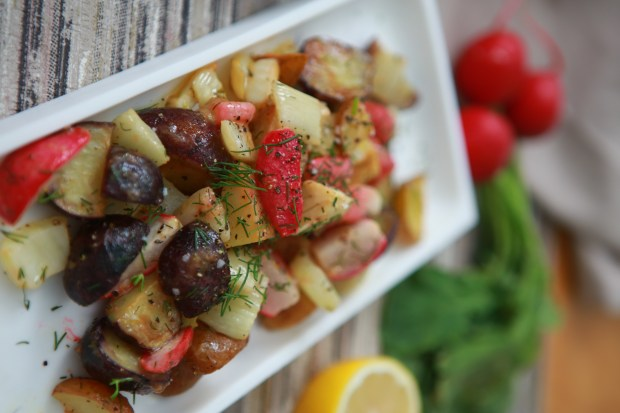 Roasted potatoes with radish and fennel bulb