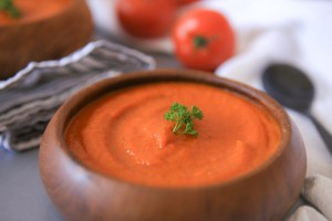 Vegan roasted carrot, tomato and red pepper soup