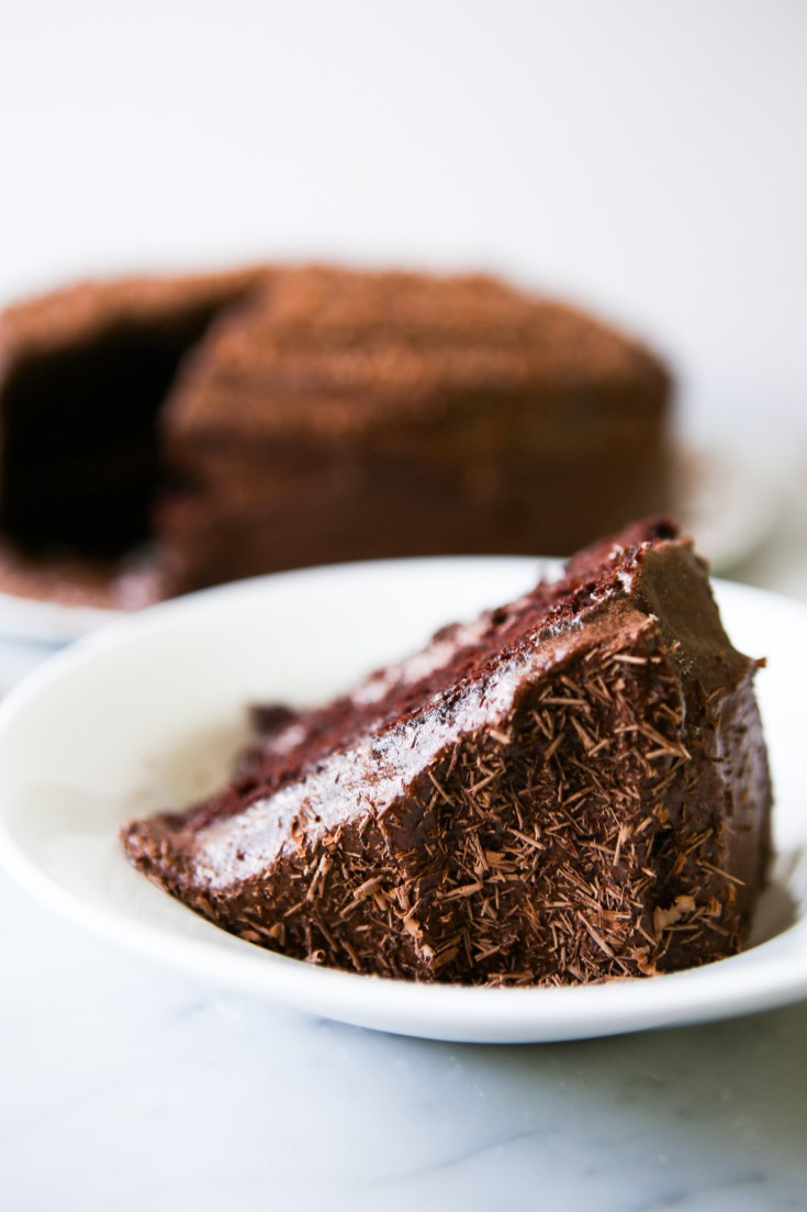 Rich, moist, delicious chocolate zucchini cake with chocolate buttercream frosting