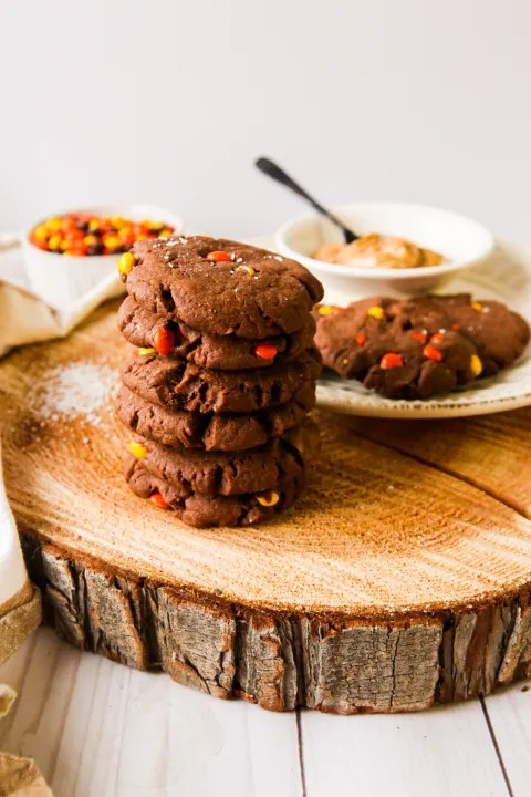 Soft chocolate peanut butter cookies filled with Reese's Pieces and chocolate chips   cookies   baking cookies   baking with kids   chocolate cookies   Reese's Pieces   peanut butter cookies   nut butter