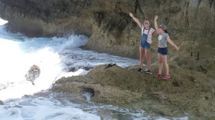 The girls get wild with the waves!