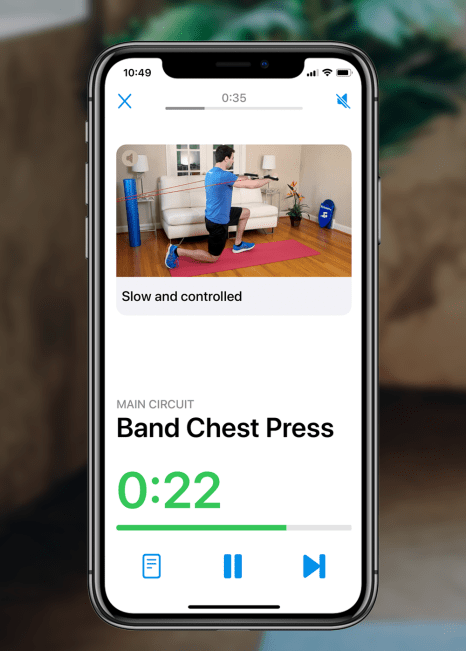 Band chest press app view