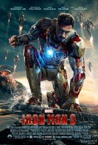 As far as legit posters for the movie, I think I like this one the best. Robert Downey Jr.'s expression certainly shows Tony's inner turmoil, and his anger and all that stuff. Plus his wrecked house is in the background. That's cool. And, oh, the suits! I'm really liking the multiple-suits theme going on in the posters.