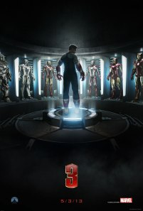 This teaser poster is cool. I like the many Iron Man suits in the background, and the fact that Tony isn't actually wearing one of them. Cool contrast.
