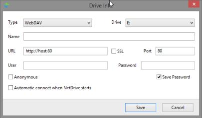 NetDrive instellingen