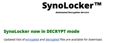 Synolocker in decrypt Mode