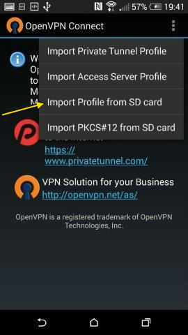 Klik op 'Import Profile from SD card'