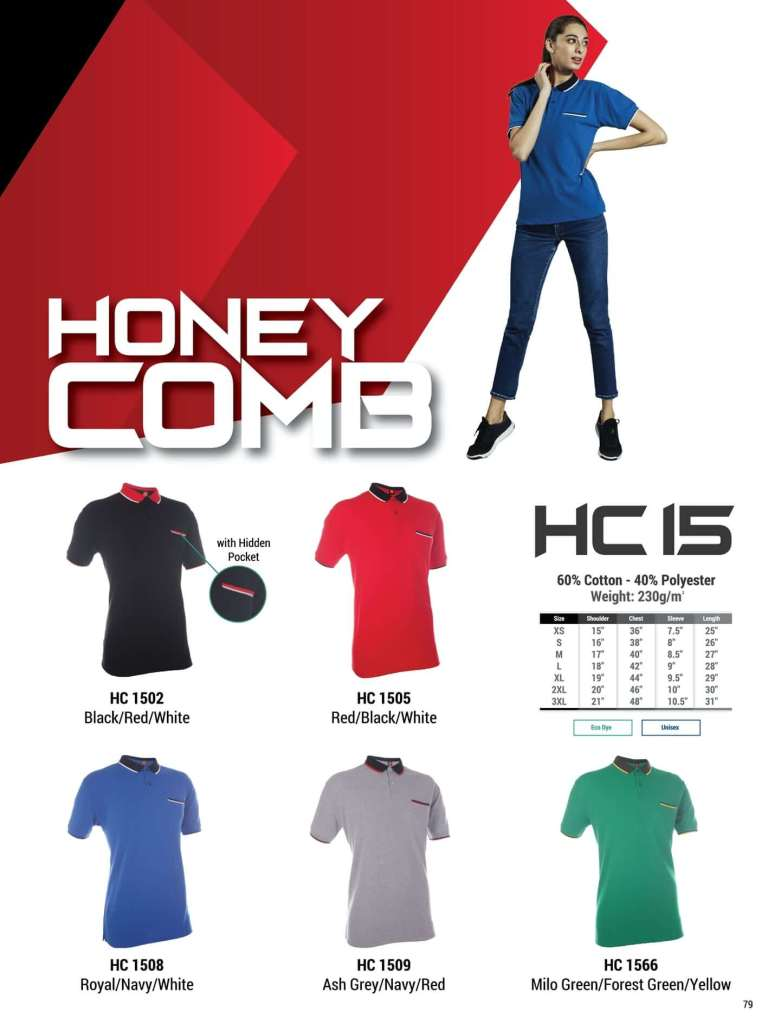 HC15 oren sport polo honeycomb plain