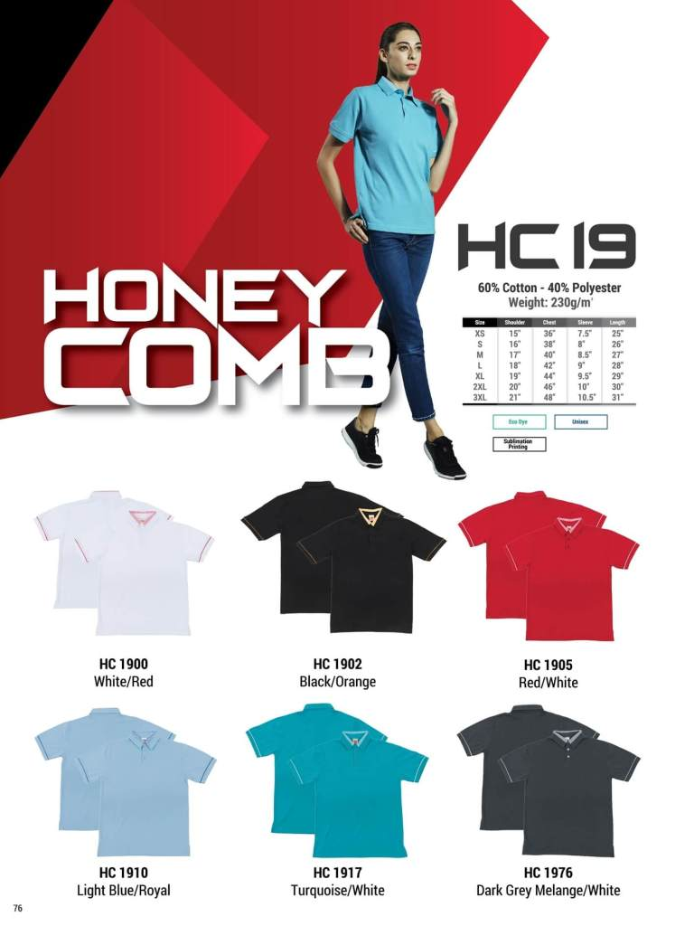 HC19 oren sport polo honeycomb plain