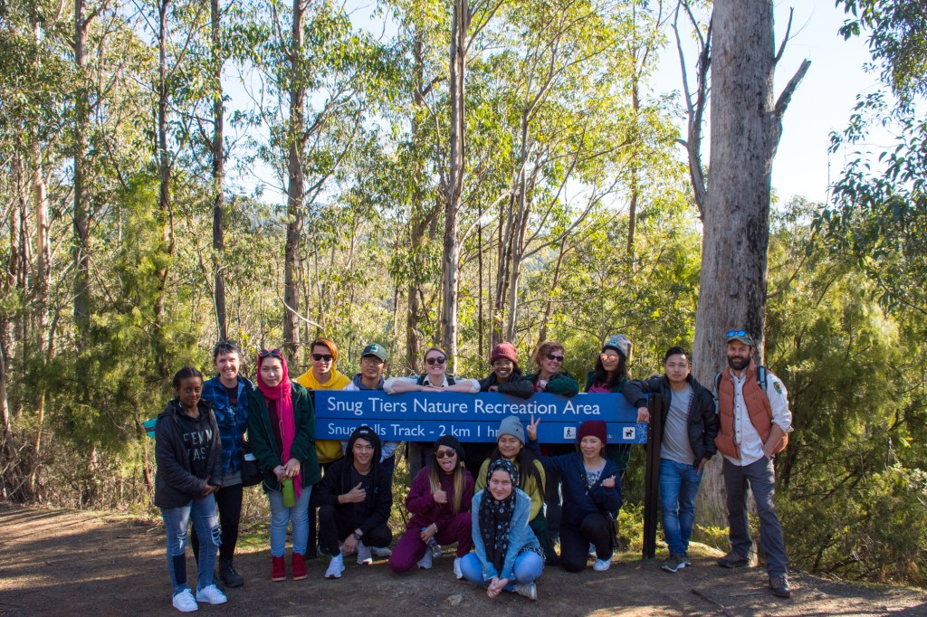 Picture of leadership camp attendees at Snug Falls track