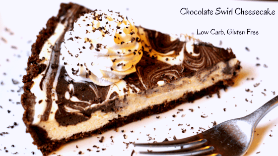Low Carb and Gluten Free Chocolate Swirl Cheesecake