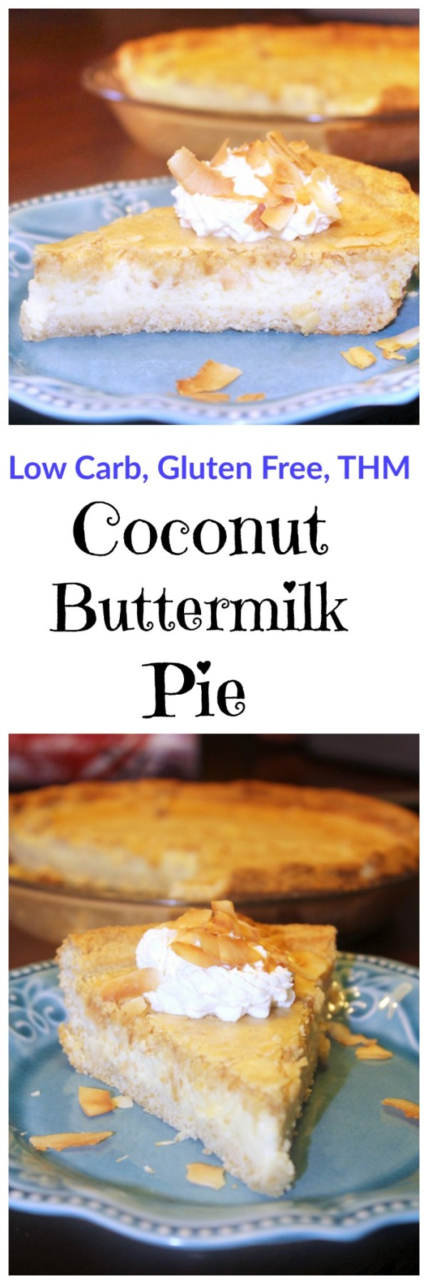 A coconut twist on a classic buttermilk pie. Low carb and gluten free.