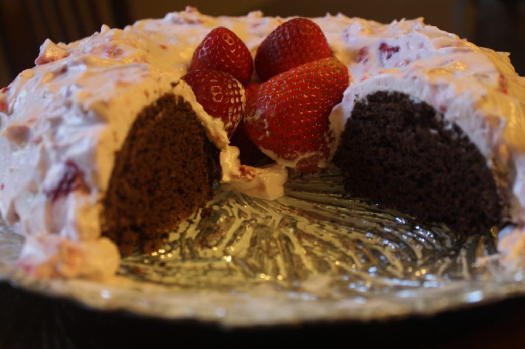 Strawberry Frosted Chocolate Cake Low Carb Gluten Free