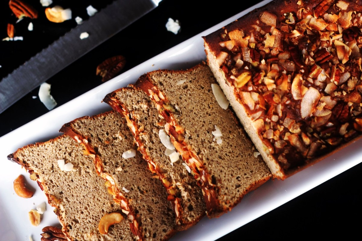This slightly sweet breakfast bread is low carb, gluten and sugar free and a great addition to any breakfast.