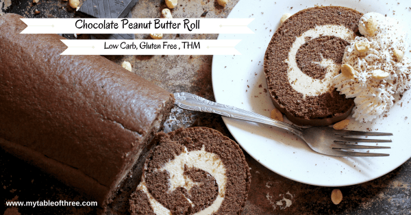 "This Chocolate Peanut Butter Roll is a delicous treat that is low carb, gluten free, sugar free and THM ""S"". Only 4 net carbs per slice"