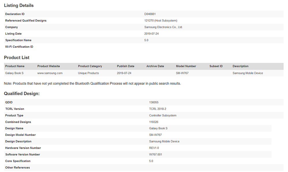 Samsung Galaxy Book S (SM-W767) Spotted on Bluetooth Listing