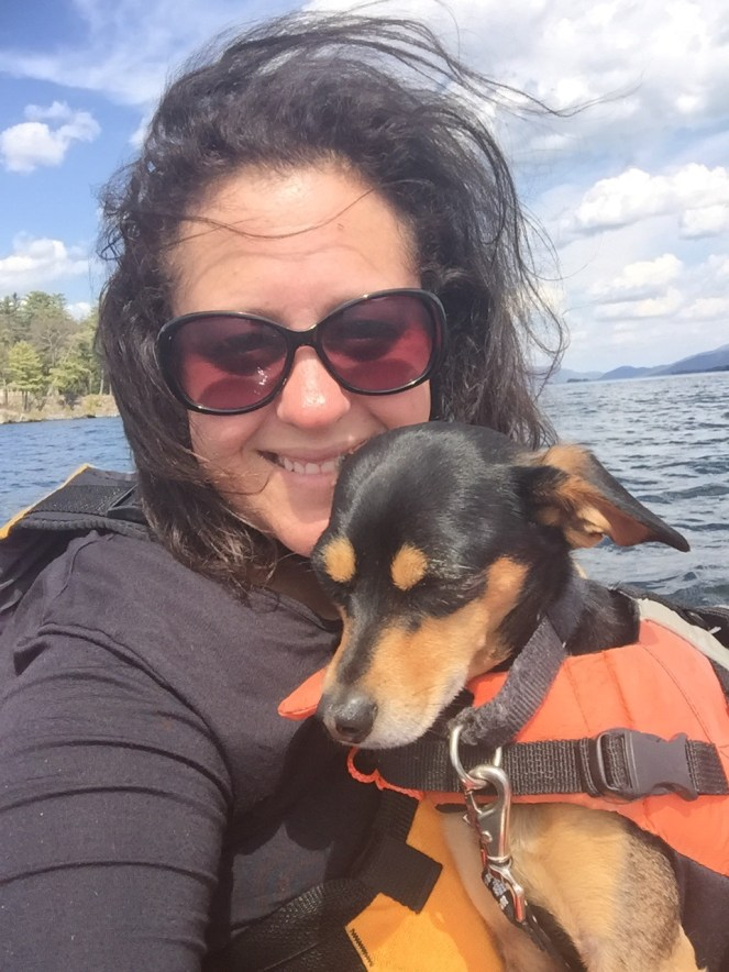 Michelle Maskaly kayaking dogs