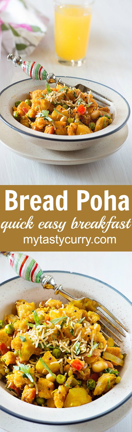Bread poha is simple Indian breakfast that is made by cooking chunks of leftover bread in spicy tomato masala. 10 Minutes is all that is required to make tasty and Easy Vegetarian Indian Breakfast.