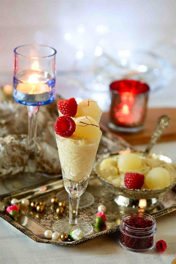 raspberry kheer and rasgulla cups