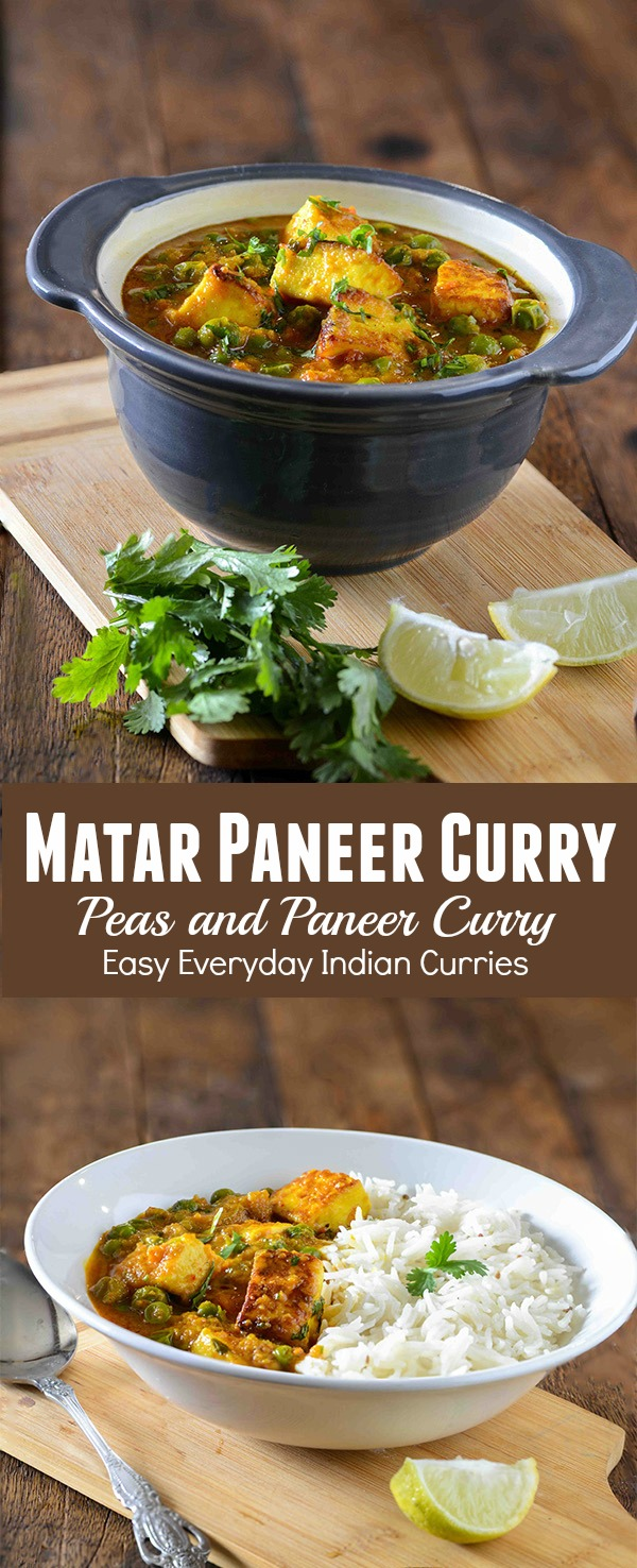 Matar paneer sabzi or matar paneer curry is hearty vegetarian curry from North Indian cuisine. This is one of most popular paneer recipe and many people love it. Matar Paneer or Mutter paneer is often served with with chapati, rice or paratha. One thing that you will see on an Indian vegetarian party menu is a paneer curry dish. More often than not it will be either matar paneer or shahi paneer. Both of these paneer curries are very rich and that's the reason now people have started avoiding these. That's the reason I like home cooked paneer curry more than restaurant style one.