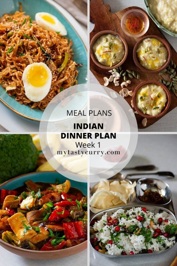 Indian meal plan week 1 dinners my tasty curry indian meal plan with recipes for a week day wise weekly indian meal plan with forumfinder Images