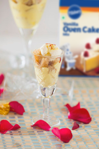 Moist Vanilla Cake and Saffron Cream | A Dessert in a Glass with Pillsbury Oven Cake Mix