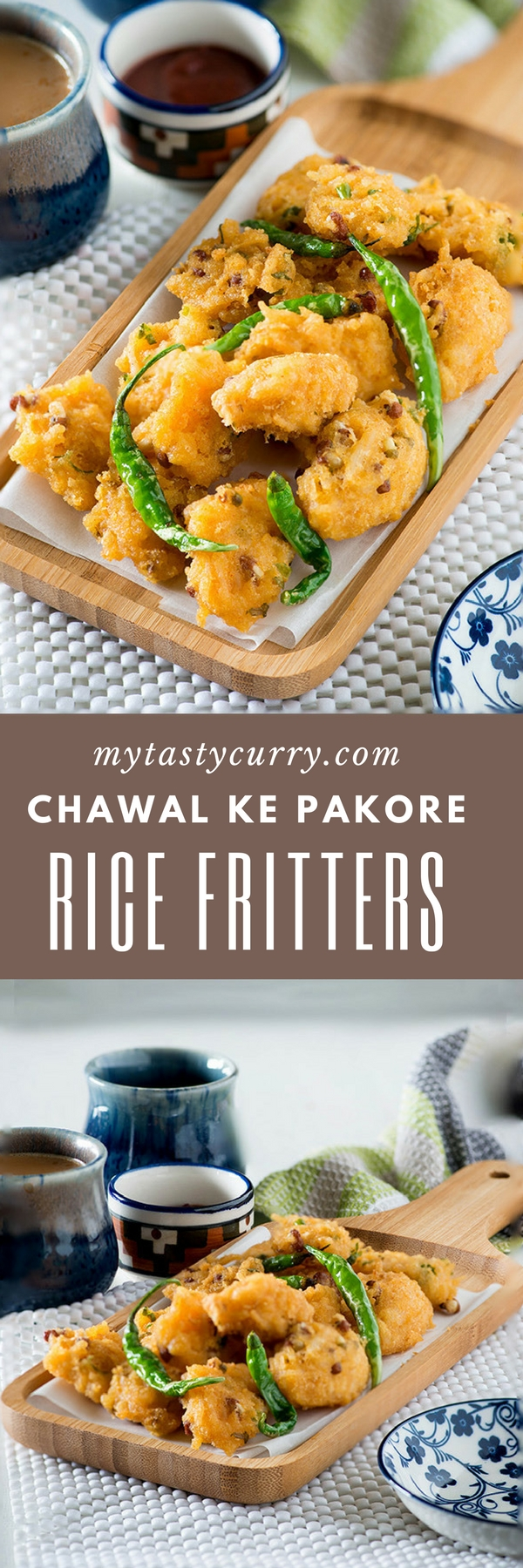 rice pakora recipe or chawal ke pakore with step by step video – Deep fried fritters or pakoras are made from leftover cooked rice and gram flour.