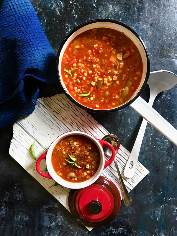 Tomato and pasta soup is simple and hearty soup recipe made with pasta and veggies in a tomato-based soup. It makes a comforting soup bowl so good for winter dinners or a comfort meal during monsoon.
