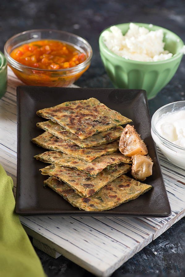 Leftover Dal and methi Paratha , Flatbread made with wholewheat and leftover dal