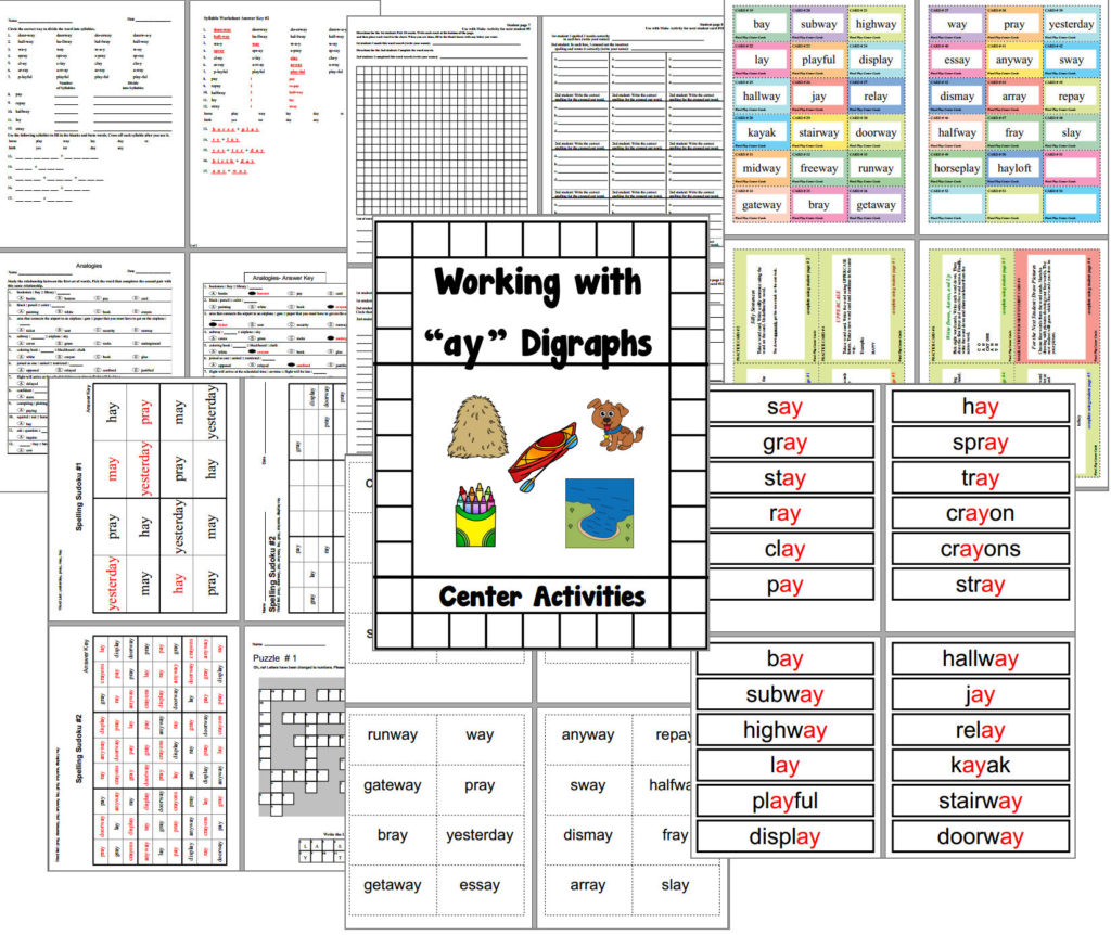 Vowel Digraph Ay Centers And Worksheets