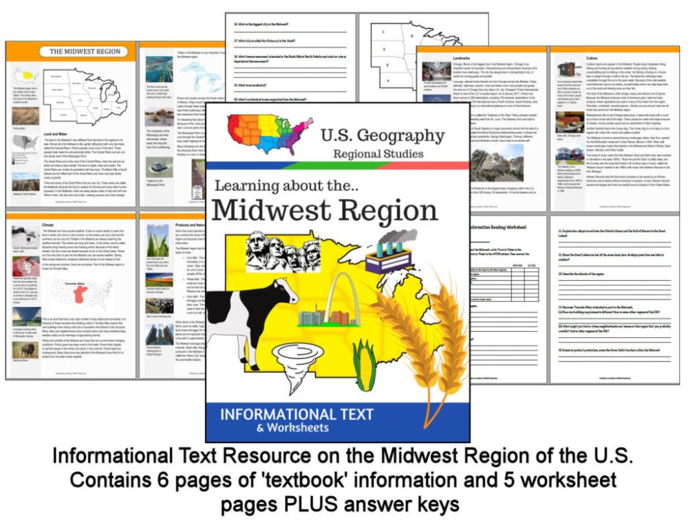 medium resolution of Regions of the U.S. - Midwest Region - Informational Text and Worksheets -  My Teaching Library   CHSH-Teach LLC